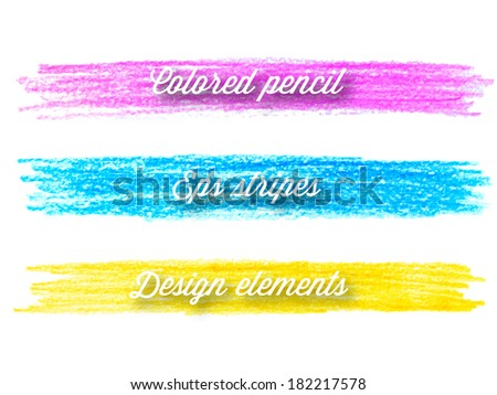 Vector colored pencil design elements. Hand drawn colorful stripes. - stock vector