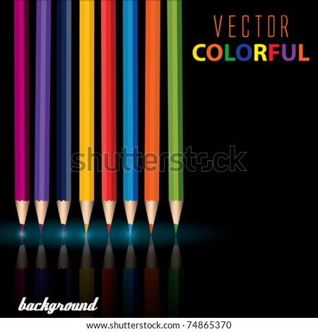 Vector Colored Pencils - stock vector