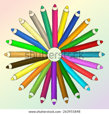 Vector colored pencils in circle. Eps 10 vector - stock vector