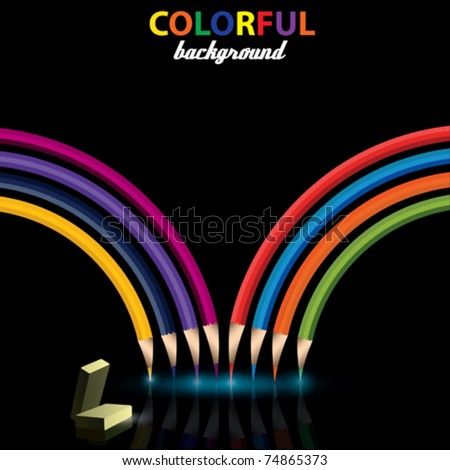 Vector Colored Pencils with eraser - stock vector