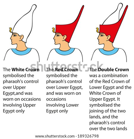 Vector colored schematic illustration in the style of Egyptian fresco painting. Crown worn by pharaohs of Lower (northern), Upper (southern), and Joint kingdoms - stock vector