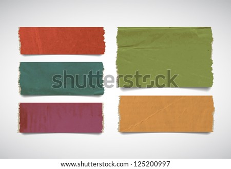 Vector colored torn paper pieces banners collection