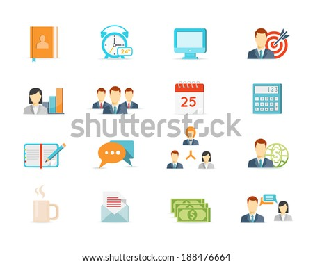 vector colored trendy office work and management icons - stock vector