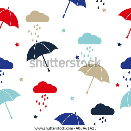 Vector colored umbrellas and rainy clouds seamless pattern. Cute cartoon background.