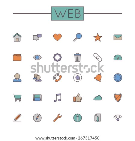 Vector Colored Web Line Icons - stock vector