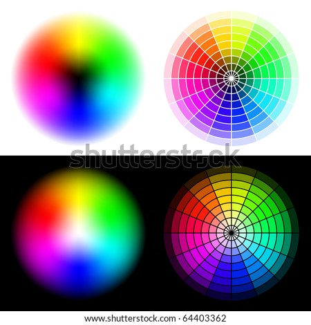 Vector colored wheels in HSV (HSB) color space. Created using gradient meshes and simple radial sectors. - stock vector