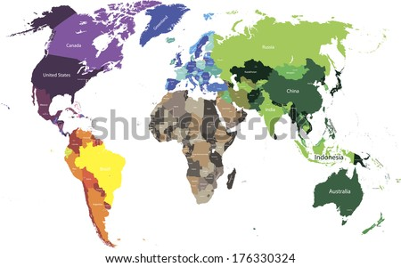 vector colored world map - stock vector