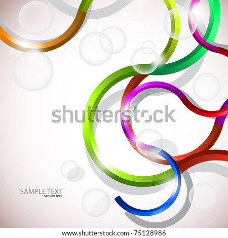 Vector colorful abstract background. Curves lines and bubbles design