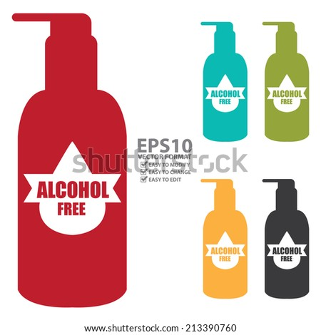 Vector : Colorful Alcohol Free Icon, Label or Cosmetic Container Isolated on White Background  - stock vector
