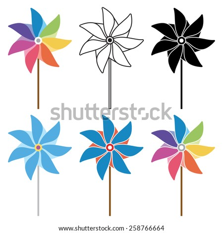 vector colorful and black and white pinwheel set - stock vector