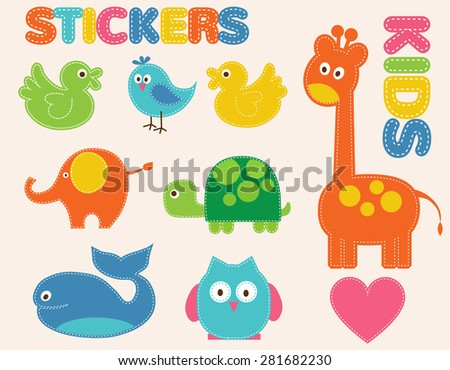 Vector colorful animals set. Stickers   for kids - stock vector