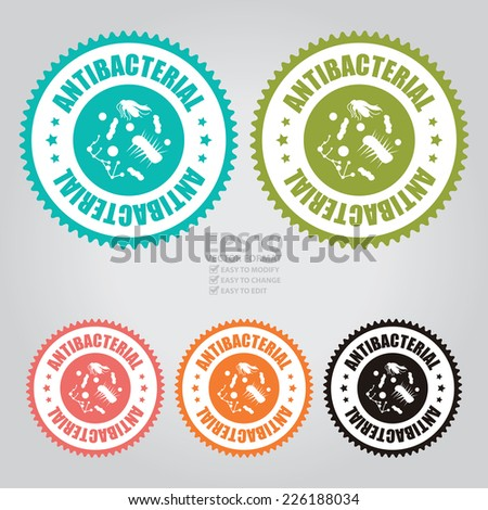 Vector : Colorful Antibacterial Icon, Sticker, Badge or Label - stock vector