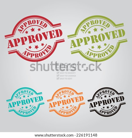 Vector : Colorful Approved Stamp, Icon, Sticker, Badge or Label - stock vector