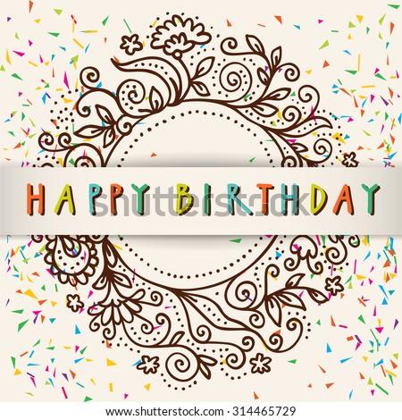 Vector Colorful Artistic Happy Birthday Card Stock Vector 314465729