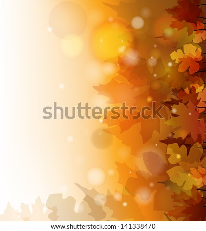 vector colorful autumn background, eps10 file, gradient mesh and transparency used, raster version available - stock vector