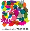 vector colorful background of leaves - stock vector