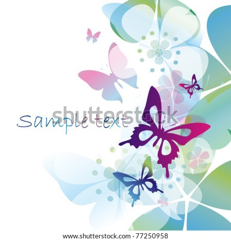 Vector colorful background with butterfly - stock vector