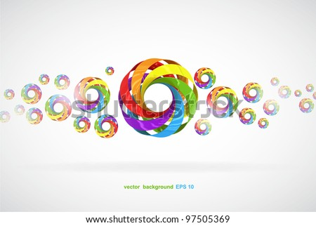 vector colorful background with circular elements - stock vector