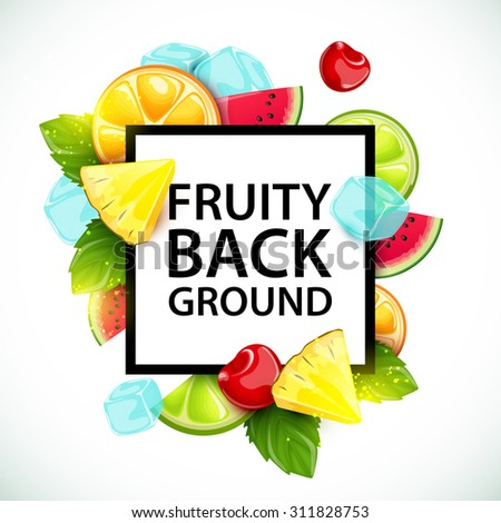 Vector colorful background with fruits and berries.
