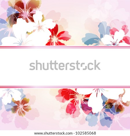 Vector colorful background with transparent flowers - stock vector