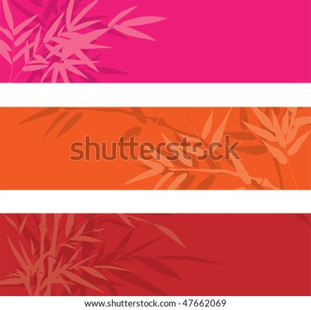 Vector colorful bamboo banners with space for text - stock vector