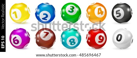 Vector Colorful Bingo. Lottery Number Balls 3d. Colored balls isolated. Bingo ball. Bingo balls with numbers. Set of colored balls. Realistic vector. Lotto concept. Lotto collored balls.