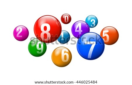 Vector Colorful Bingo / Lottery Number Balls on White Background - stock vector