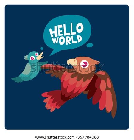 Vector colorful birds say hello to the world - stock vector