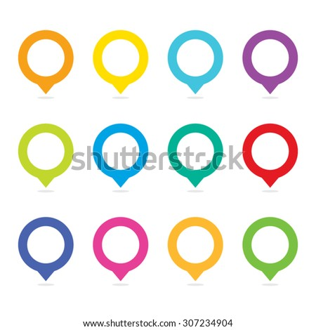 Vector Colorful Blank Map Pins Set - stock vector