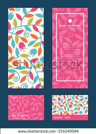 Vector colorful branches vertical frame pattern invitation greeting, RSVP and thank you cards set - stock vector