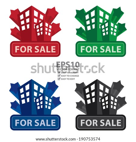 Vector : Colorful Building, Apartment or Office For Sale Icon or Label Isolated on White Background - stock vector