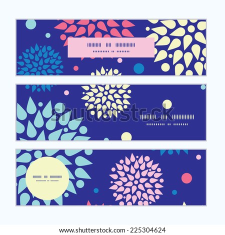 Vector colorful bursts horizontal banners set pattern background - stock vector