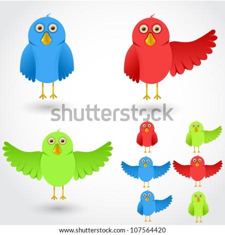 vector colorful cartoon birds collection - stock vector