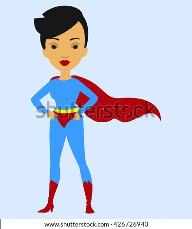 Vector colorful cartoon flat illustration with super hero woman