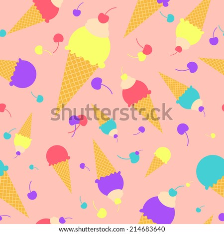 Vector colorful cartoon waffle ice cream with cherries  and sweat cream seamless pattern - stock vector