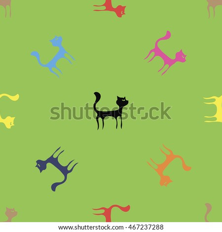 Vector Colorful Cats Seamless Pattern. Animal Pets Silhouettes Background.