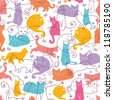 Vector Colorful Cats Seamless Pattern Background. Cute, hand drawn and colorful elements. - stock vector
