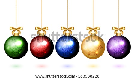 Vector colorful christmas balls with snowflake ornament - stock vector