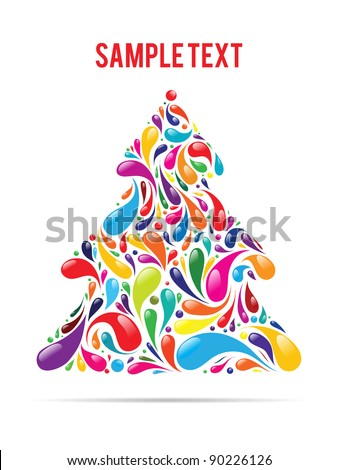 vector colorful christmas tree - stock vector