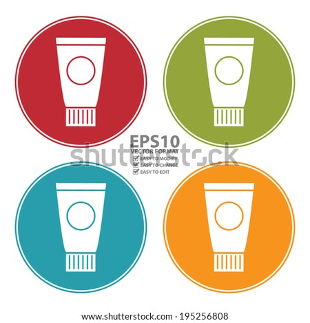 Vector : Colorful Circle Beauty Cream, Lotion or Gel Tube Icon, Sign or Symbol Isolated on White Background  - stock vector