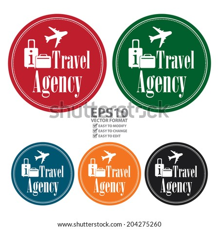 Vector : Colorful Circle Blue Vintage Style Travel Agency Icon, Label, Button or Sticker Isolated on White Background  - stock vector