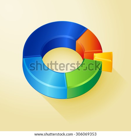 Vector colorful circle 3D diagram, graph, background for web design or presentation and infographic.