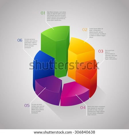 Vector colorful circle 3D diagram, graph, chart, background for web design or presentation and infographic.
