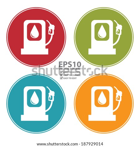 Vector : Colorful Circle Gasoline Station Icon, Sign or Symbol Isolated on White Background  - stock vector