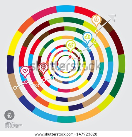 Vector colorful circle graph and arrow direction to success and bullet point between line. - stock vector