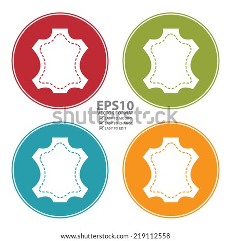 Vector : Colorful Circle Leather Icon, Sign or Symbol Isolated on White Background  - stock vector