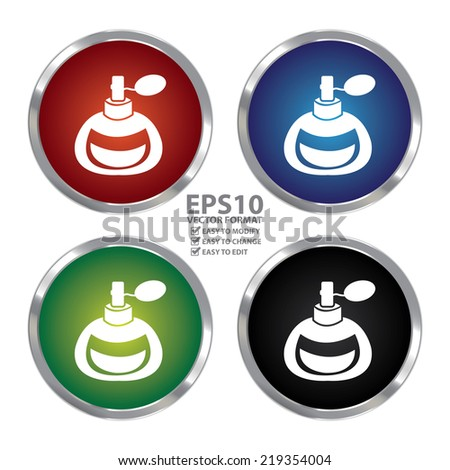 Vector : Colorful Circle Metallic Perfume or Fragrance Spray Icon or Button Isolated on White Background  - stock vector
