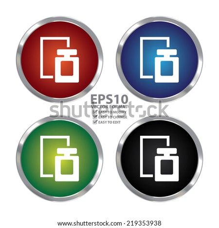 Vector : Colorful Circle Metallic Perfume Spray Icon or Button Isolated on White Background  - stock vector