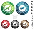 Vector : Colorful Circle Metallic Style Dog Training Center With Dog Sign Icon, Sticker or Label Isolated on White Background  - stock