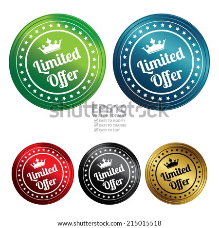 Vector : Colorful Circle Metallic Style Limited Offer Icon, Sticker, Badge or Label Isolated on White Background  - stock vector
